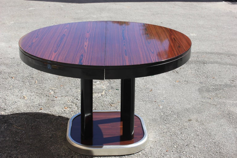 French Art Deco Macassar Ebony Round Dining Table With Built In Extension Leaf Excellent Condition