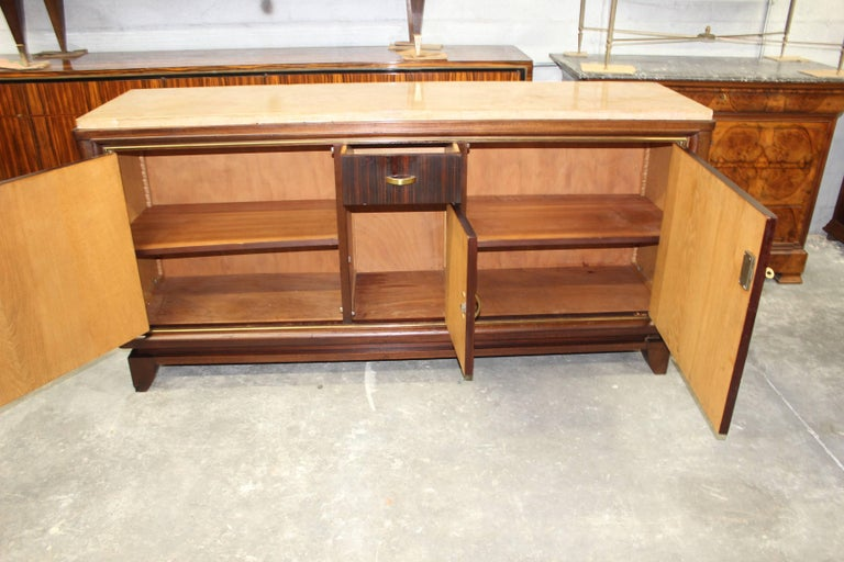 French Art Deco Macassar Ebony Sideboard or Buffet by Maurice Rinck, circa 1940s In Excellent Condition For Sale In Hialeah, FL