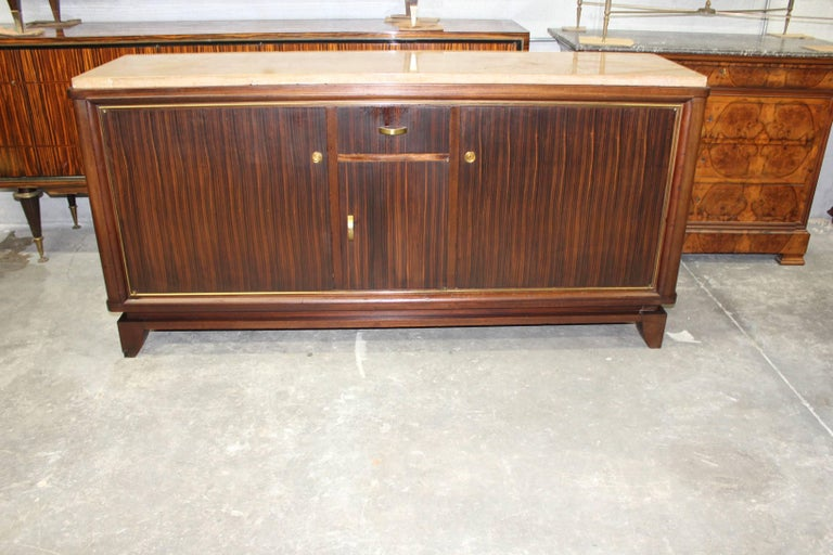 Bronze French Art Deco Macassar Ebony Sideboard or Buffet by Maurice Rinck, circa 1940s For Sale