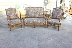 Set of settees And Armchairs Solid Walnut Louis XIII Style Os De Mouton.1900s