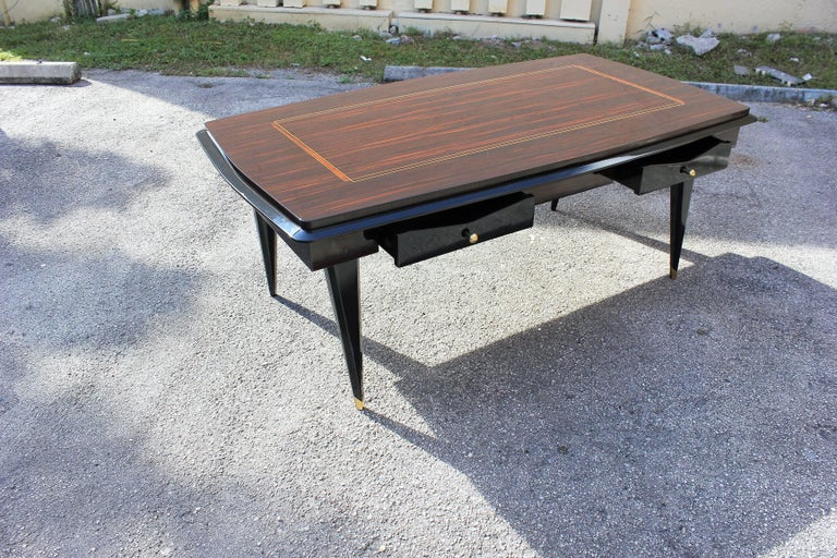 Monumental French Art Deco Exotic Macassar Ebony Desk, circa 1940s In Excellent Condition For Sale In Hialeah, FL