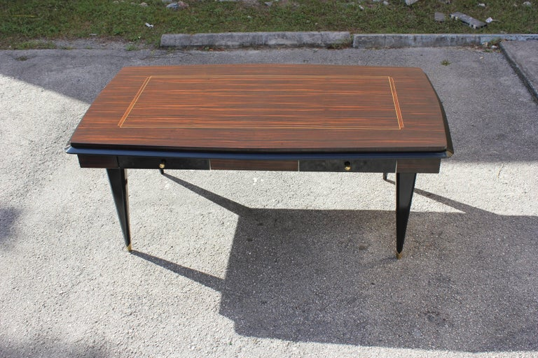 Mid-20th Century Monumental French Art Deco Exotic Macassar Ebony Desk, circa 1940s For Sale