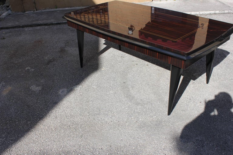 Monumental French Art Deco Exotic Macassar Ebony Desk, circa 1940s For Sale 3