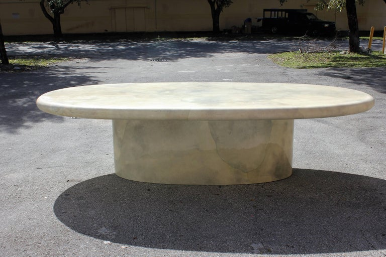 Monumental Midcentury Dining Table Goat Skin by Aldo Tura, circa 1970s In Good Condition For Sale In Hialeah, FL