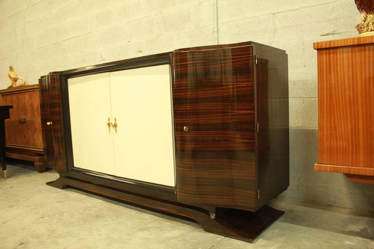 French Art Deco Macassar Sideboard or Bar with Parchment by Maurice Rinck For Sale 2