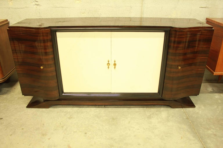 French Art Deco Macassar Sideboard or Bar with Parchment by Maurice Rinck For Sale 3