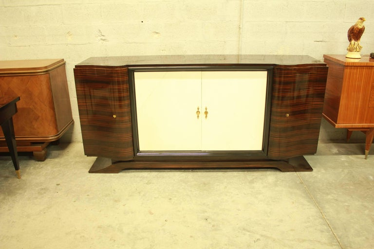 French Art Deco Macassar Sideboard or Bar with Parchment by Maurice Rinck For Sale 5