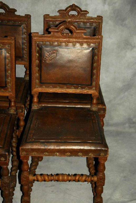 Set Of Six Antique Spanish Colonial Carved Oak And Leather Dining Chairs At 1stdibs