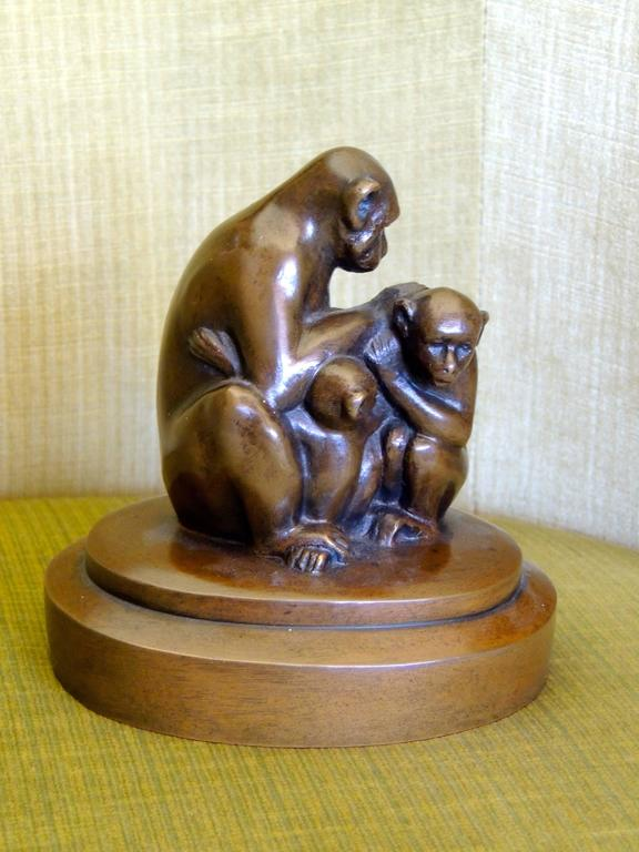 Bronze Monkey Sculpture Art Deco For Sale 1