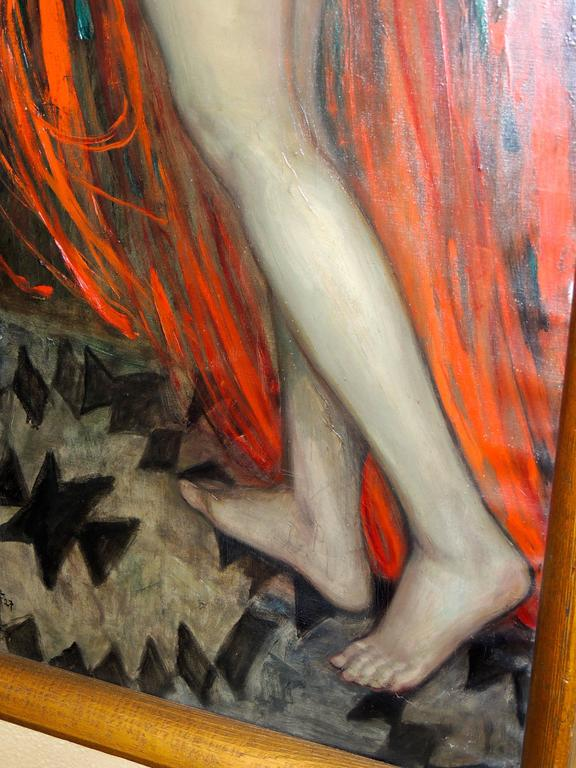 Dutch Art Deco Painting By Evan Offel, Nude With Red Dress For Sale At 1Stdibs-9738