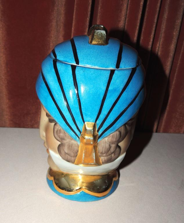 French Double Head Art Deco ROBJ Paris Signed Ceramic Jar Bonbonniere, 1930 In Excellent Condition For Sale In Oakland, CA