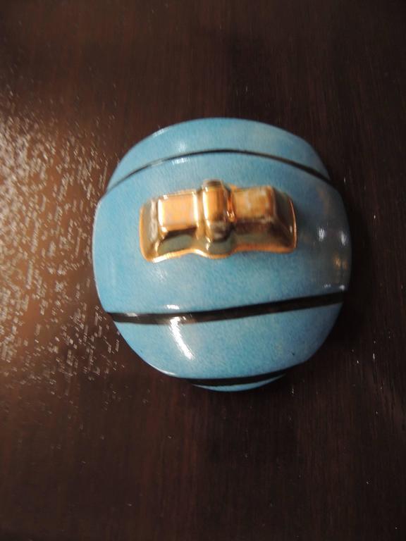Mid-20th Century French Double Head Art Deco ROBJ Paris Signed Ceramic Jar Bonbonniere, 1930 For Sale