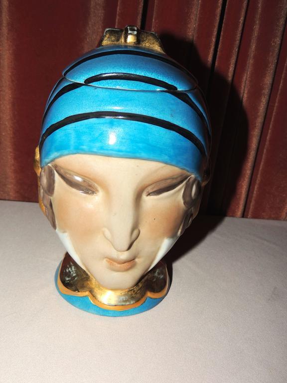 French Double Head Art Deco ROBJ Paris Signed Ceramic Jar Bonbonniere, 1930 For Sale 2