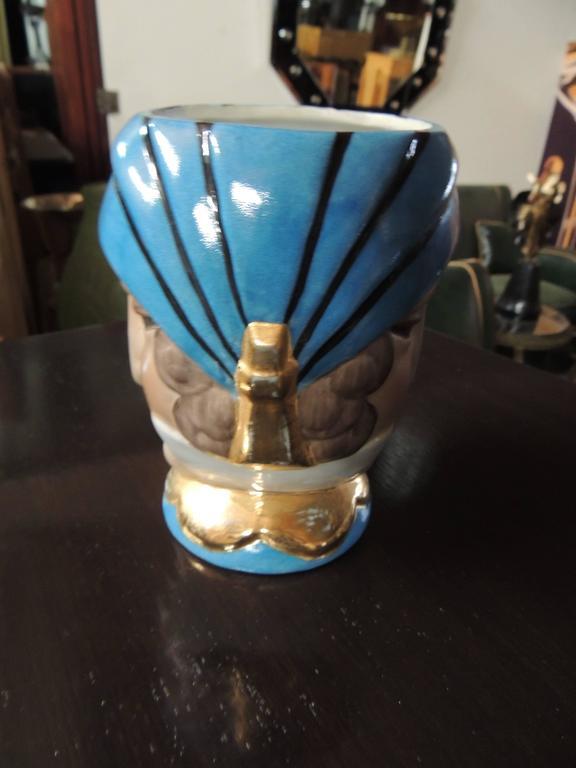 French Double Head Art Deco ROBJ Paris Signed Ceramic Jar Bonbonniere, 1930 For Sale 1