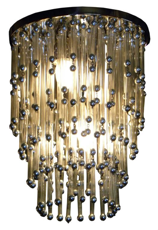Chrome Unusual Art Deco Chandelier with Silver Balls For Sale