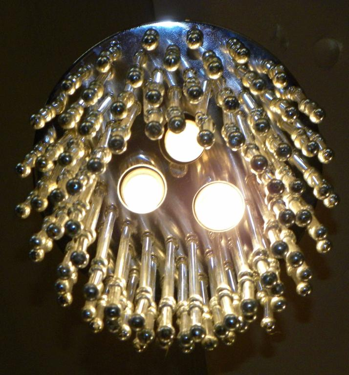 Argentine Unusual Art Deco Chandelier with Silver Balls For Sale