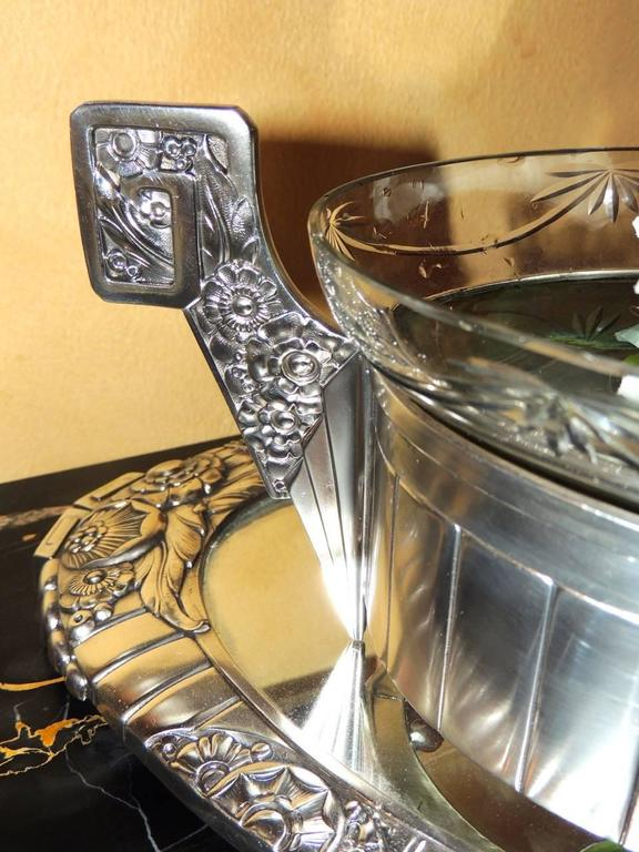 French silver art deco centerpiece and mirrored tray at