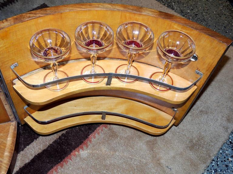 "Art Deco ""Secret"" Bar with Mirror Topped Table 6"