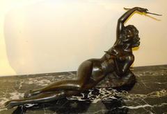 Bronze Art Deco Nude Sculpture by S. Melani