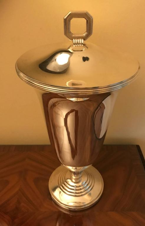 Silver Plate Christofle Luc Lanel Art Deco Vase Normandie Silver plate Urn For Sale