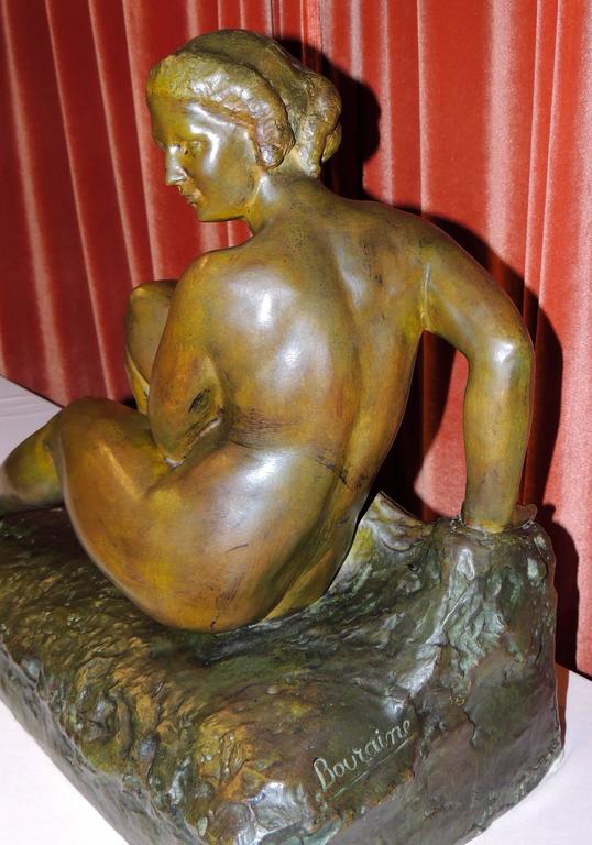 Art Deco Woman- Bronze Sculpture by Marcel Bouraine In Excellent Condition For Sale In Oakland, CA