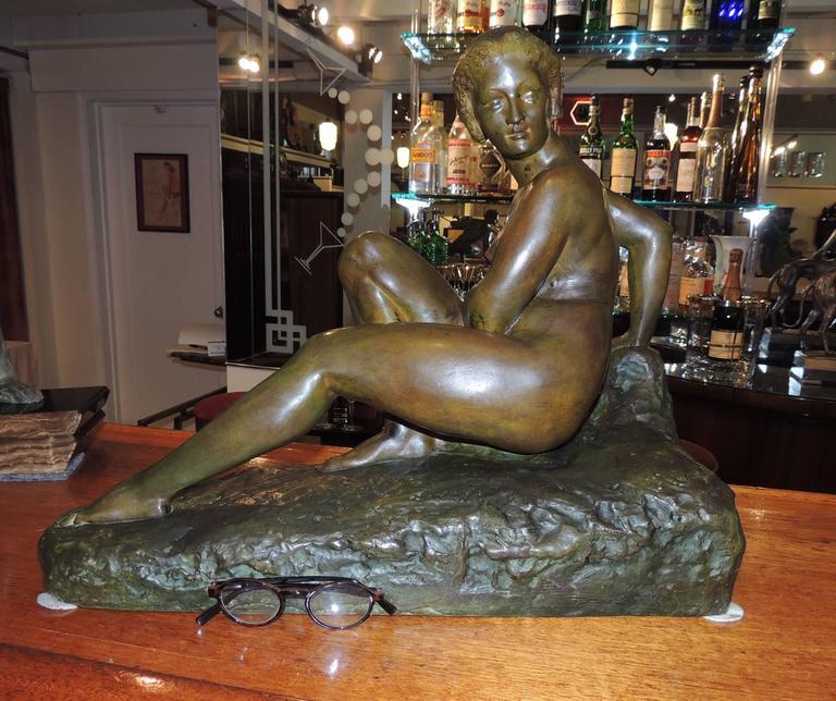 Art Deco Woman- Bronze Sculpture by Marcel Bouraine For Sale 3