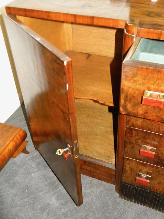 Mid-20th Century Bookmatched Dining Art Deco Storage Cabinet For Sale