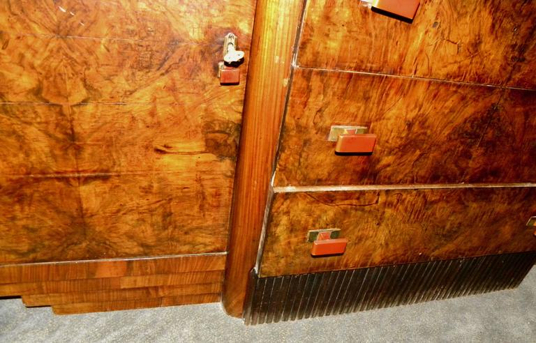 Bookmatched Dining Art Deco Storage Cabinet In Excellent Condition For Sale In Oakland, CA