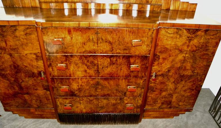 Bookmatched Dining Art Deco Storage Cabinet For Sale 1