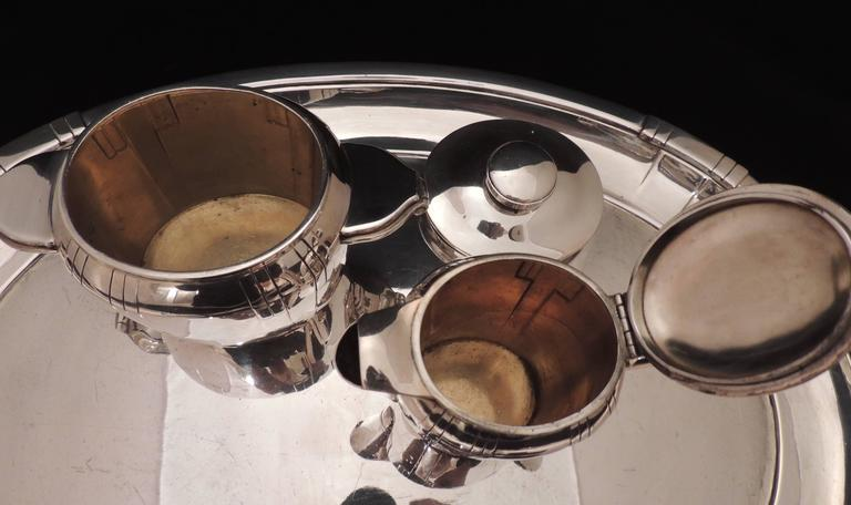Silver Plate French Art Deco Silver Tea and Coffee Set For Sale
