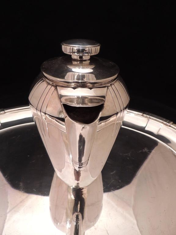 Argentine French Art Deco Silver Tea and Coffee Set For Sale