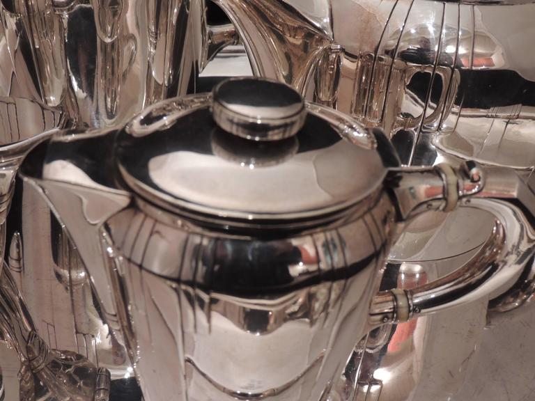 French Art Deco Silver Tea and Coffee Set For Sale 2