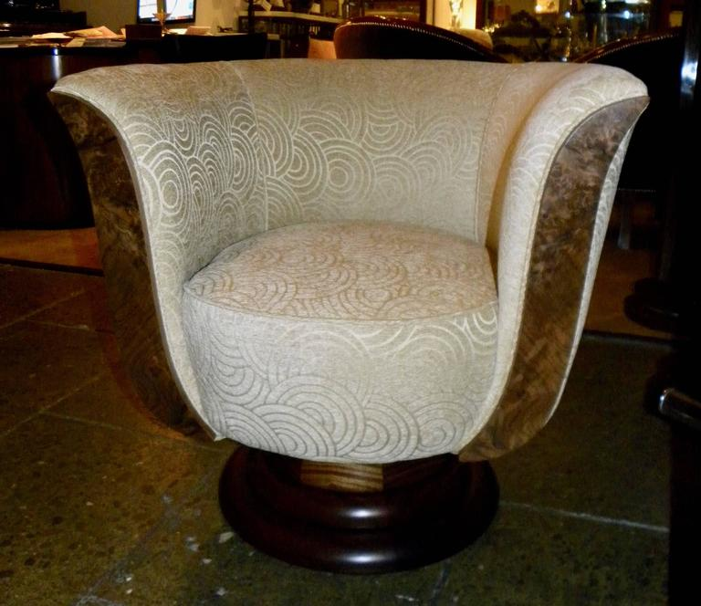Fabric Pair of French Style Art Deco Swivel Chairs For Sale
