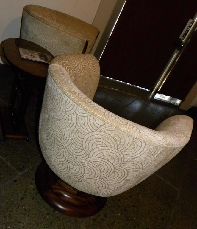 Pair of French Style Art Deco Swivel Chairs For Sale 2