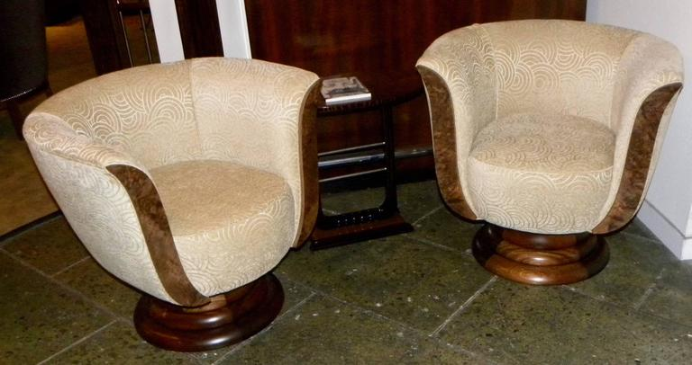 Pair of French Style Art Deco Swivel Chairs In Excellent Condition For Sale In Oakland, CA