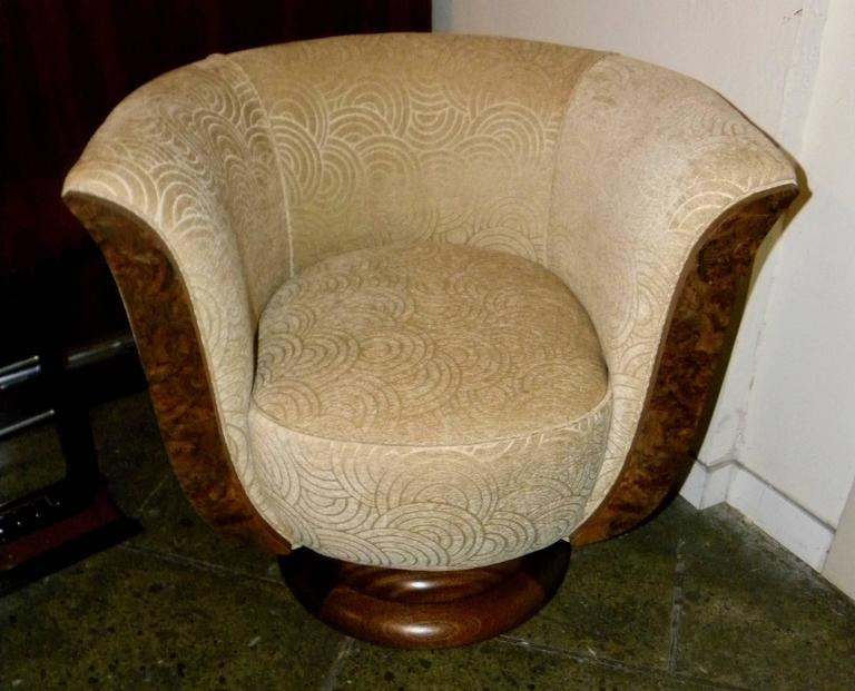 Pair of French Style Art Deco Swivel Chairs For Sale 3