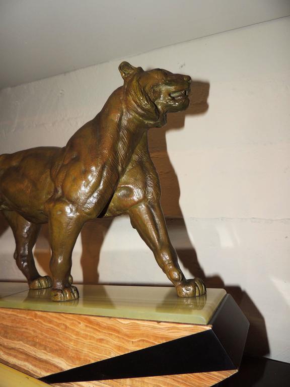 Bronze Art Deco Lion Sculpture For Sale 1