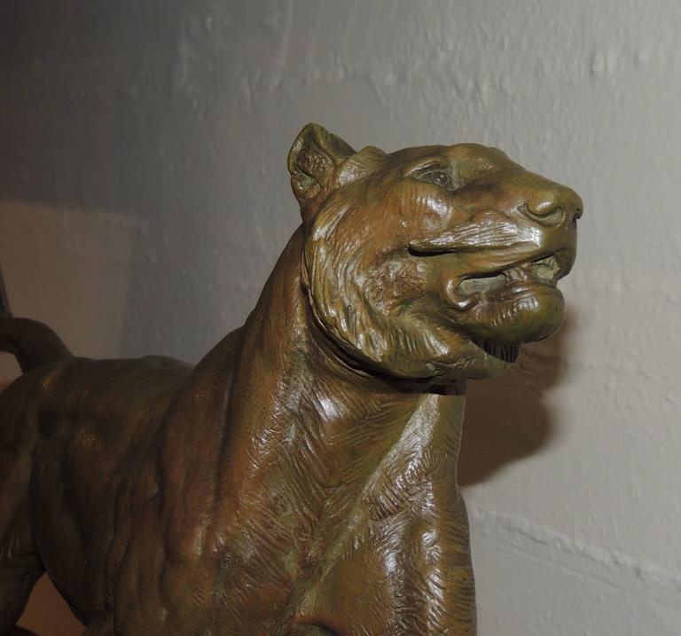 French Bronze Art Deco Lion Sculpture For Sale