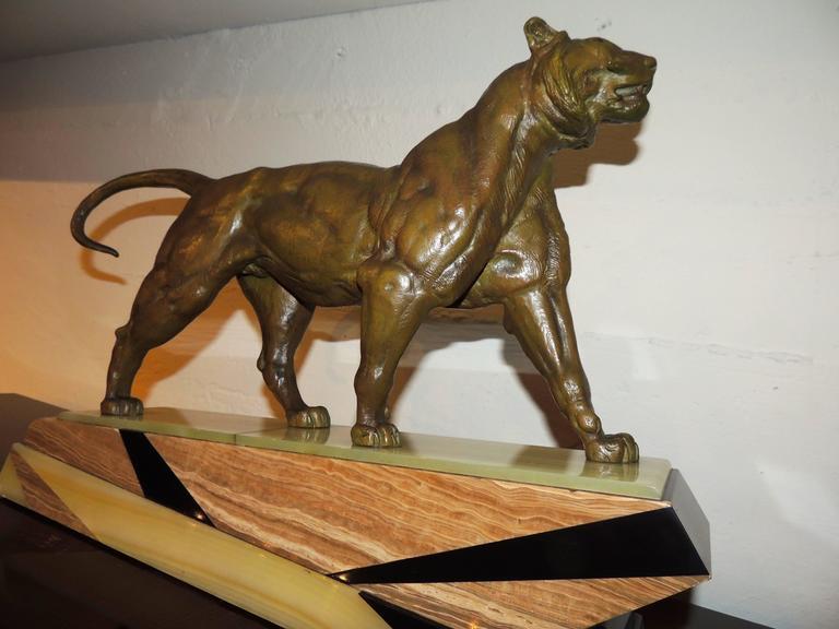 Bronze Art Deco Lion Sculpture For Sale 4