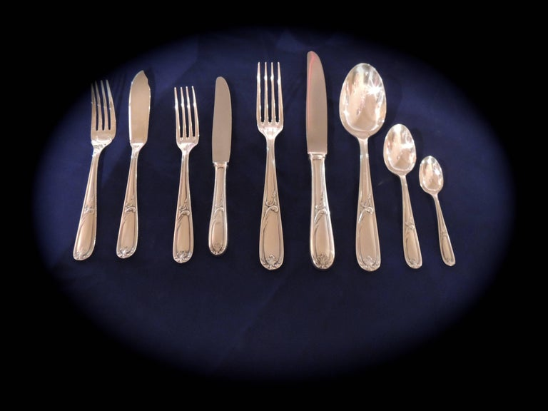 Silver Plate Complete Christofle Silverware Set in Wooden Storage Table For Sale