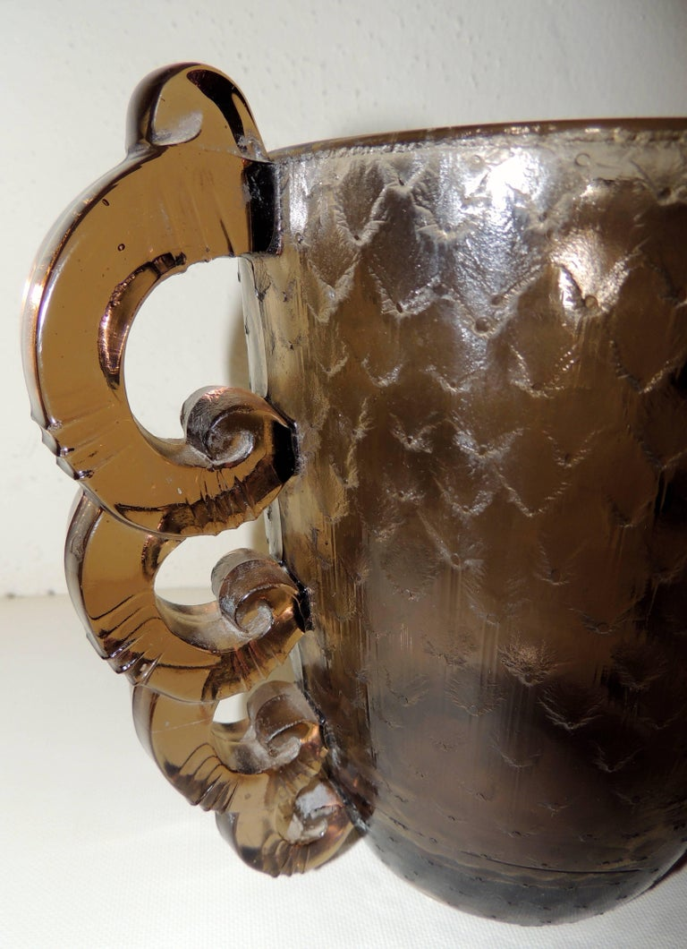 French Art Deco Glass Vase by D'Avesn for Daum with Scalloped Glass Handles For Sale