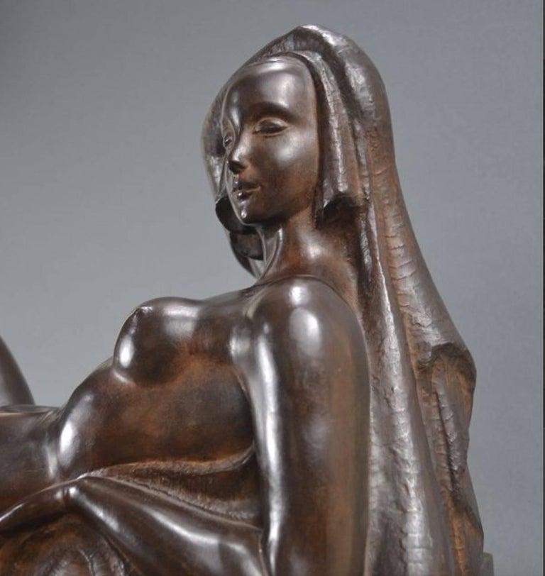 Art Deco Masterpiece Bronze Reclining Sculpture Important Artist Jan Anteunis For Sale 1
