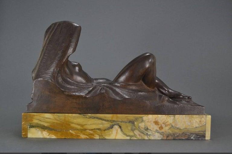 Belgian Art Deco Masterpiece Bronze Reclining Sculpture Important Artist Jan Anteunis For Sale