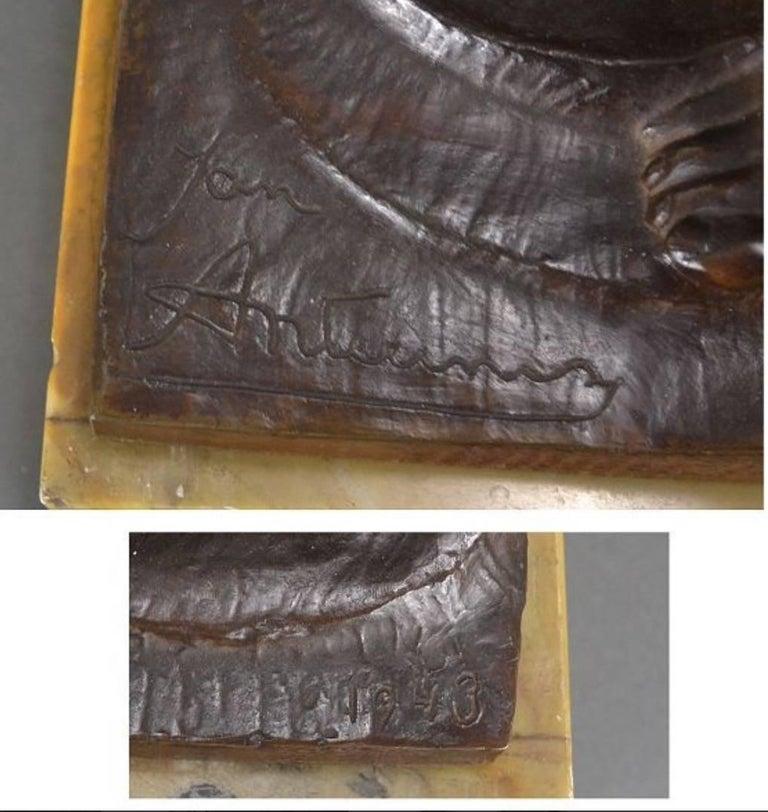 Art Deco Masterpiece Bronze Reclining Sculpture Important Artist Jan Anteunis For Sale 2