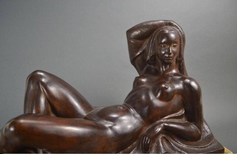 Art Deco Masterpiece Bronze Reclining Sculpture Important Artist Jan Anteunis In Excellent Condition For Sale In Oakland, CA