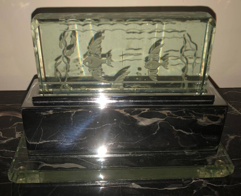 art deco lumiere desk light with etched fish scene at 1stdibs. Black Bedroom Furniture Sets. Home Design Ideas