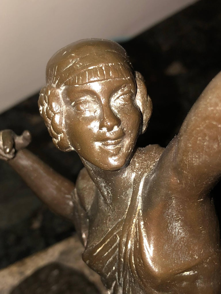French Diana the Huntress Art Deco Bronze Sculpture by Pierre Le Faguays For Sale