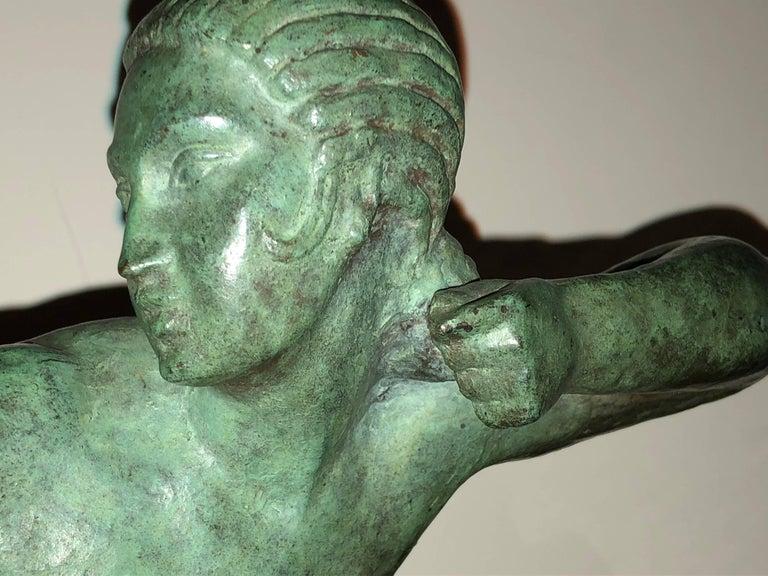 Mid-20th Century Art Deco Bronze Sculpture by Bouraine of Amazon Queen Penthesilea