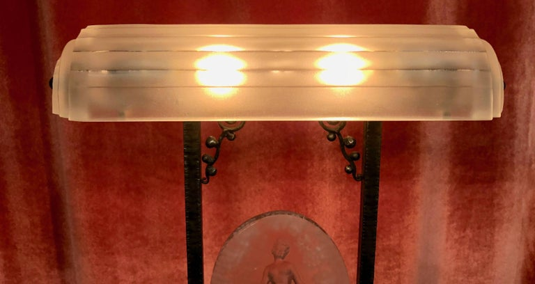 Rare Pierre D´Avesn French Art Deco Acid Etched Table Lamp For Sale 1