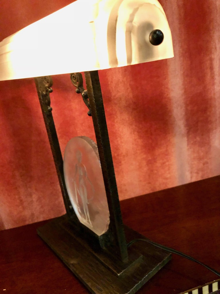 Rare Pierre D´Avesn French Art Deco Acid Etched Table Lamp For Sale 3